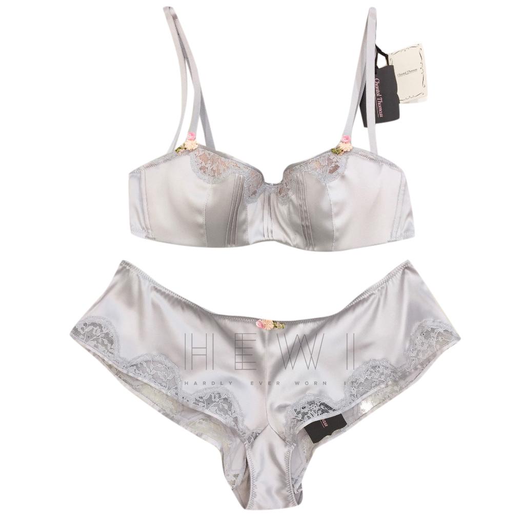 Chantal Thomass Cloud Grey Silk Balconette Bra & French Short Set
