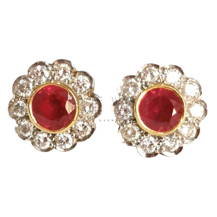 Bespoke Ruby & Diamond 18ct Gold Daisy Earrings