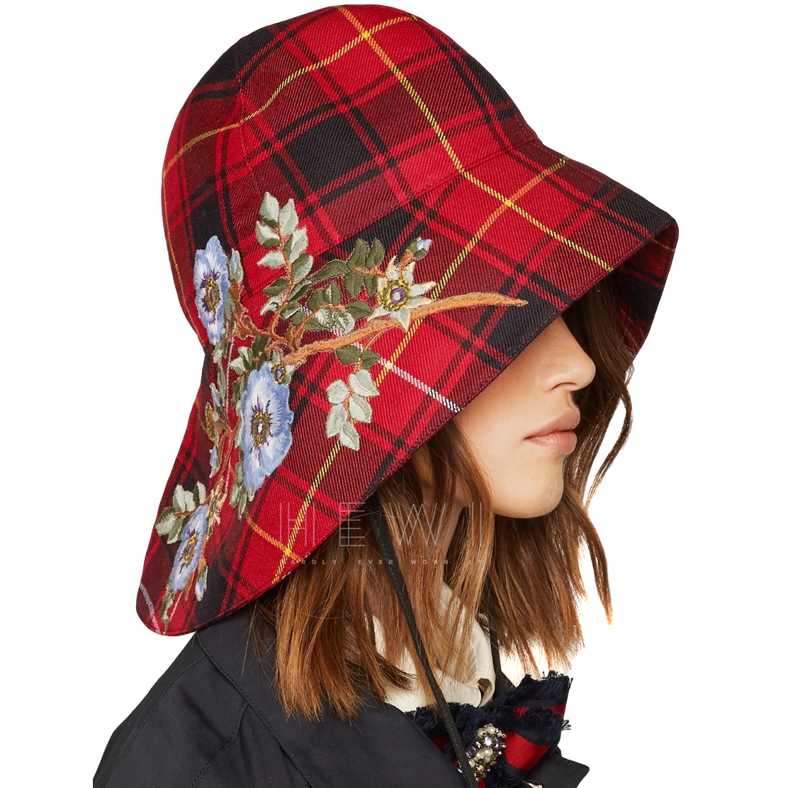 Gucci Plaid Embroidered Runway Hat