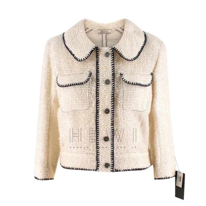 Nina Ricci Tweed Cream Stitch Detail Jacket