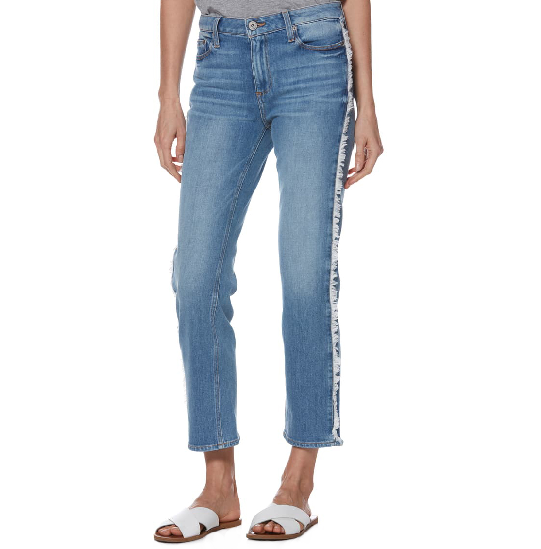 Paige Noella Frayed Side Seam Ankle Jeans
