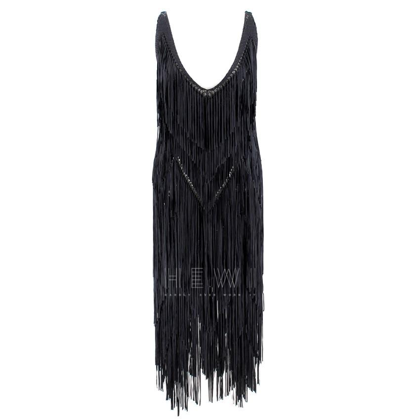 Tim Ryan Black Fringed Knitted dress