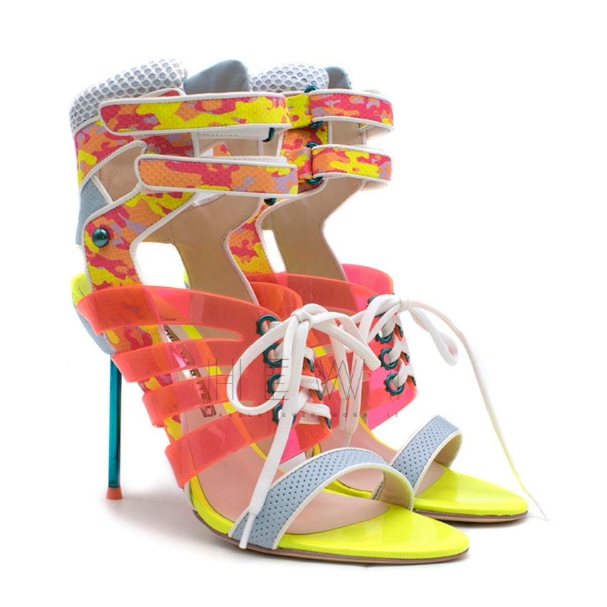 Sophia Webster 'Jourdan' Mixed Media Neon Sandals