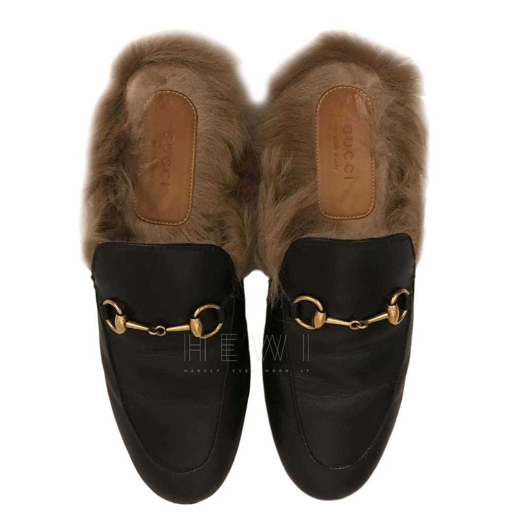 Gucci Black Fur Lined Princetown Loafers