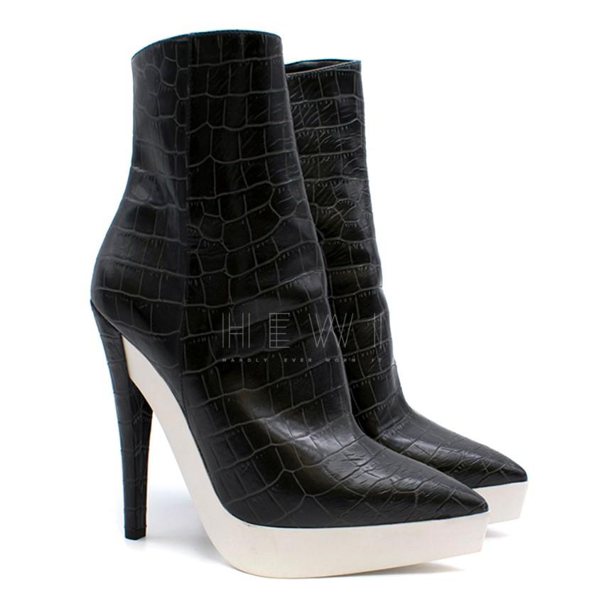 Stella McCartney Black & White Croc Embossed Ankle Boots