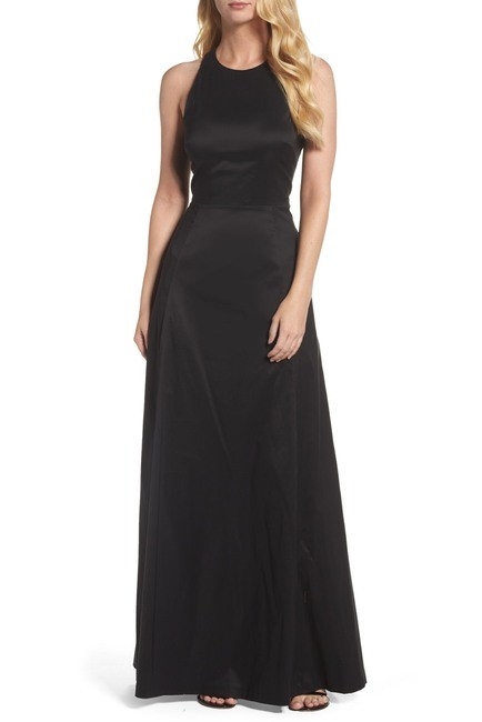 Vera Wang Black Cut-Out Sleeveless Gown