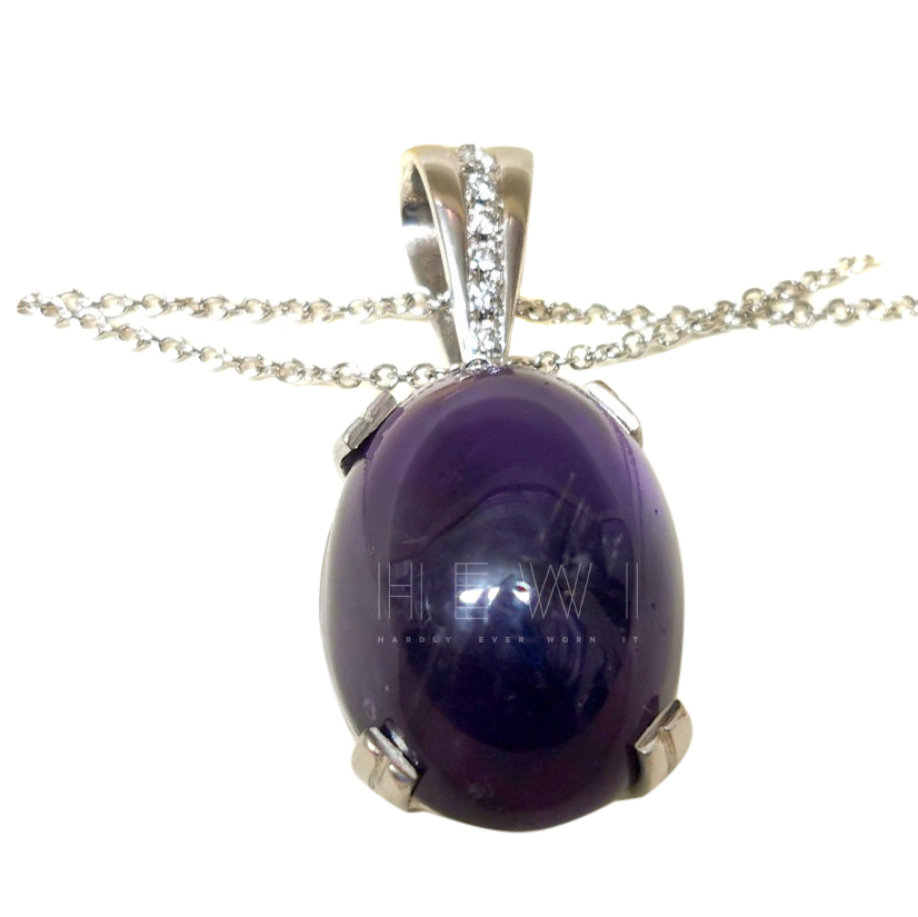 Bespoke Cabochon Amythest & Diamond pendant necklace