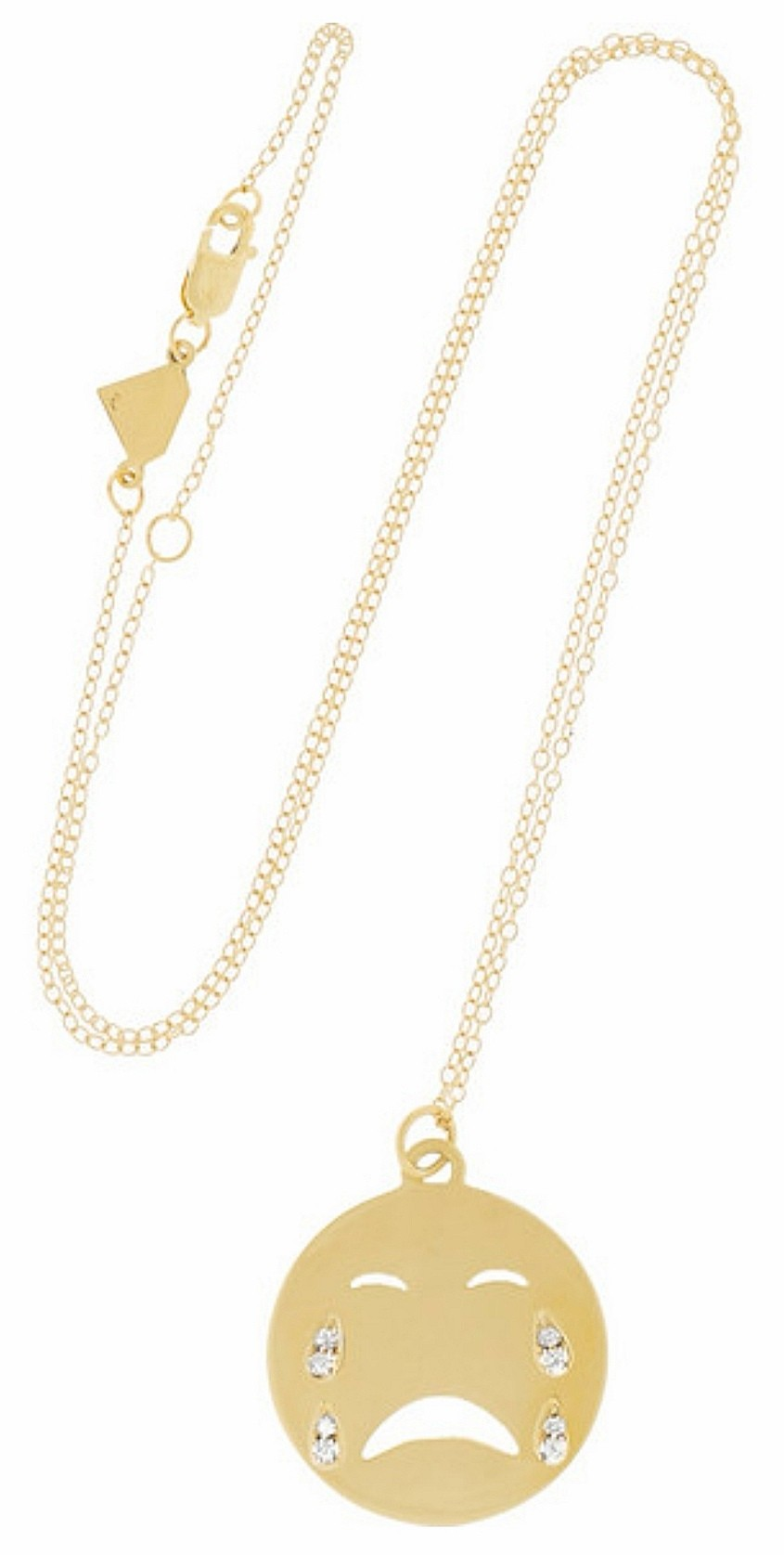 Alison Lou Yellow Gold Crybaby Emoji Diamond Pendant Necklace