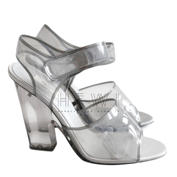 Prada Grey PVC Leather Trim Sandals