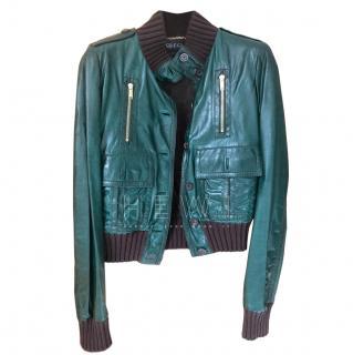 Gucci Green Leather Biker Jacket