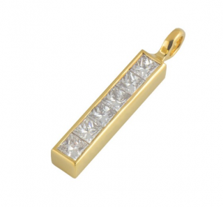Theo Fennell Yellow Gold Diamond Bar Pendant