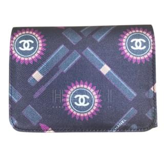Chanel Black Silk Lipstick Print Wallet