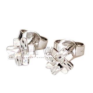 Bespoke Hashtag Stud Earrings in white gold