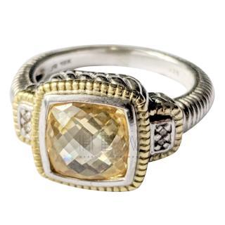 Judith Ripka Canary Crystal Yellow Gold Ring