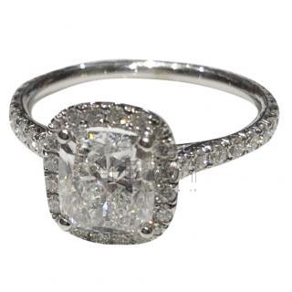 Bespoke 14kt White Gold Diamond Halo Set Ring
