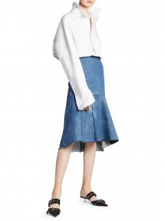 Balenciaga Panelled flared denim peplum skirt