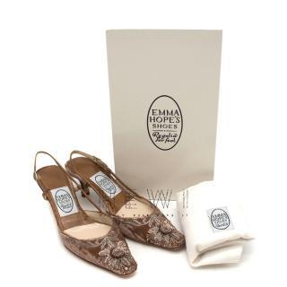 Emma Hope's Shoes velvet embroidered slingback sandals