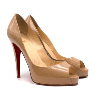Christian Louboutin nude lady peep patent leather pumps