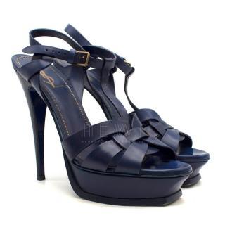 Saint Laurent Navy Leather Tribute 75 Sandals