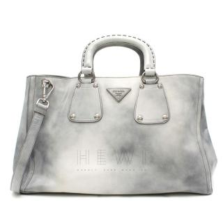 Prada grey tie dye patent leather tote bag