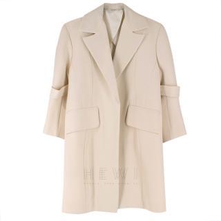 C�line Cream Cocoon Wool-Blend Coat