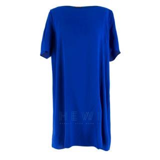 Eileen Fisher royal blue short sleeve silk dress