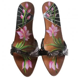 Christian Dior Hand Painted Platform Mules