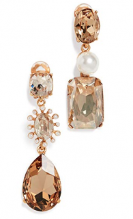 Oscar De La Renta Bold Mismatch Crystal Drop Earrings