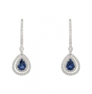 Bespoke 18K White Gold Sapphire & Diamond Earrings