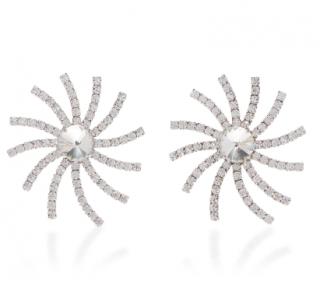 Alessandra Rich Crystal Swirl Star Earrings