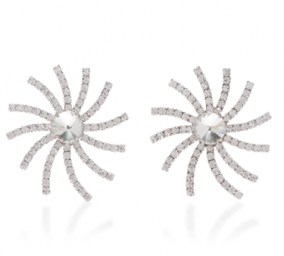 Alessandra Rich Crystal Swirl Star Earrings