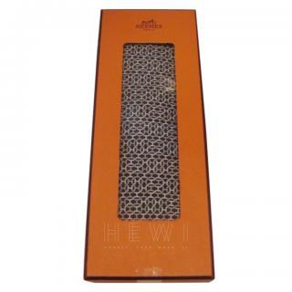 Hermes Navy Printed Silk Tie