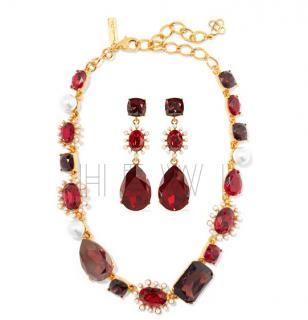 Oscar De La Renta Red Crysta; & Faux Pearl Necklace & Earrings