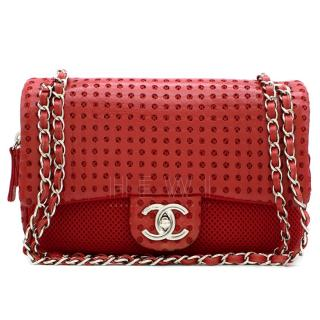 Chanel Perforated Mesh & Leather Classic Drill Flap Bag