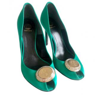Versace Green Silk Satin Pumps