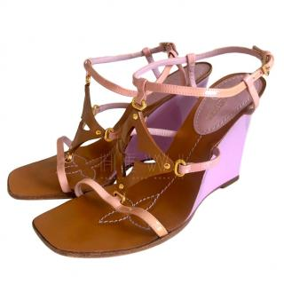 Louis Vuitton Tan, Lilac & Pink Leather Wedge Sandals