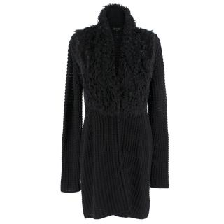 Escada Knit Longline Cardigan W/ Faux Fur Collar