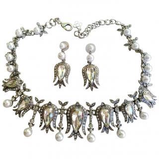Oscar De La Renta Crystal & Faux Pearl Tulip Necklace & Earrings