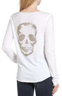 Zadig & Voltaire Crystal Skull Back Long Sleeve Top