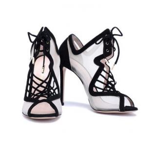 Nicholas Kirkwood Lace-up suede & mesh sandals
