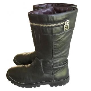 Chanel Black Leather Biker Boots
