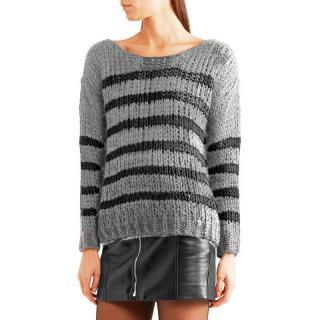 Saint Laurent Mohair Striped Open-Knit Sweater