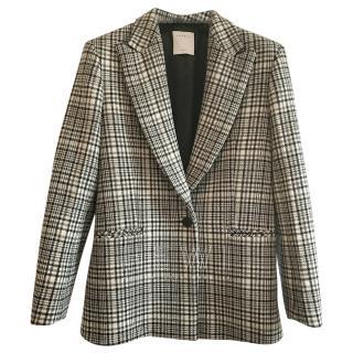 Sandro Black & White Tweed Houndstooth Check Jacket