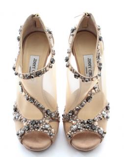 Jimmy Choo Suede & Mesh Embellished Sandals