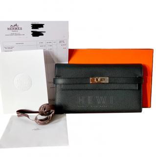 Hermes Epsom Leather Noir Kelly Longue Wallet PHW