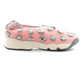 Dior Pink Crystal Embellished Fusion Sneakers