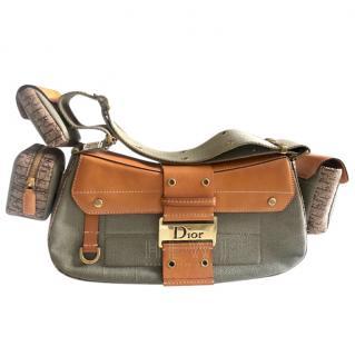 Christian Dior Khaki Canvas Columbus Avenue Multipocket Bag