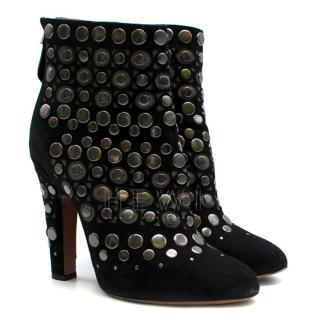 Alaia Studded Black Suede Block Heel Ankle Boots