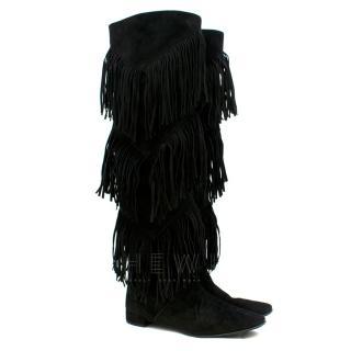 Roger Vivier Black Suede Over the Knee Fringe Boots