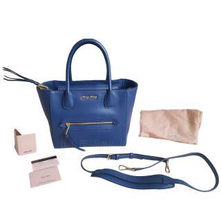 Miu Miu Blue Leather Tote Bag